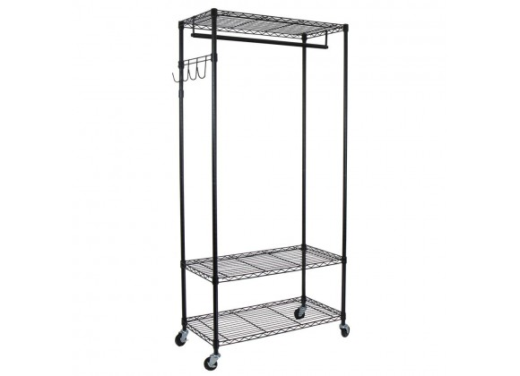 Garment Rack with Adjustable Shelves with Hooks - Black - Angled