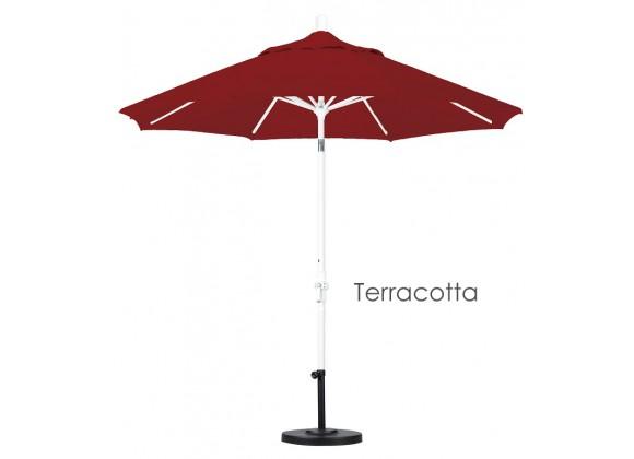 California Umbrella 9' Aluminum Market Umbrella Collar Tilt - Matted White - Sunbrella