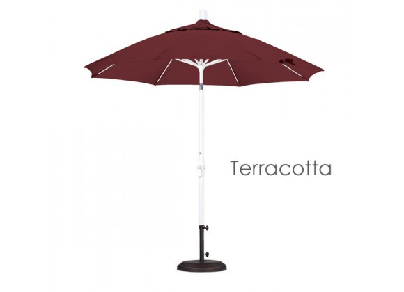 California Umbrella 9' Fiberglass Market Umbrella Collar Tilt M White - Olefin