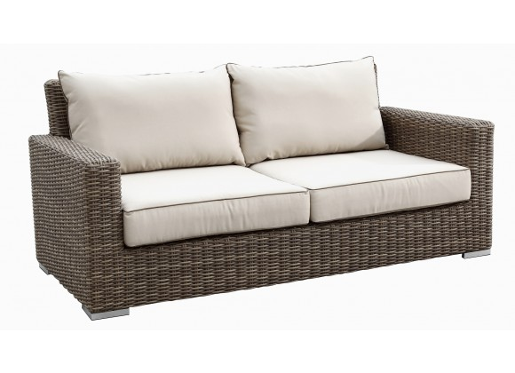 Coronado Wicker Loveseat With Cushions In Canvas Antique Beige With Canvas Cocoa Welt
