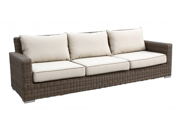 Coronado Wicker Sofa With Cushions In Canvas Antique Beige With Canvas Cocoa Welt