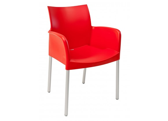 Polypropylene Shell With Aluminum Legs Side Chair - ICE-A - Rojo