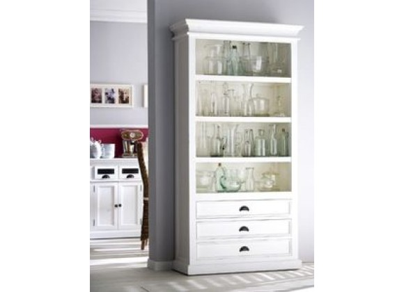 Nova Solo  HALIFAX White Mahogany Bookcase with 3 Drawers and 4 shelves