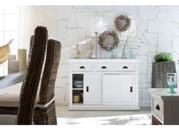 Infinita HALIFAX White Mahogany Buffet with 3 Drawers and 2 Sliding Doors