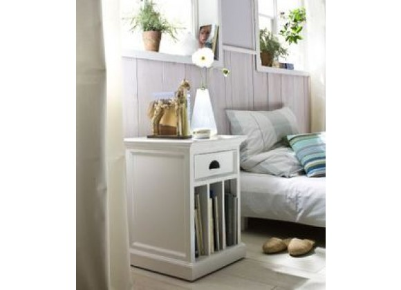 Nova Solo HALIFAX White Mahogany Nightstand with 1 Drawer