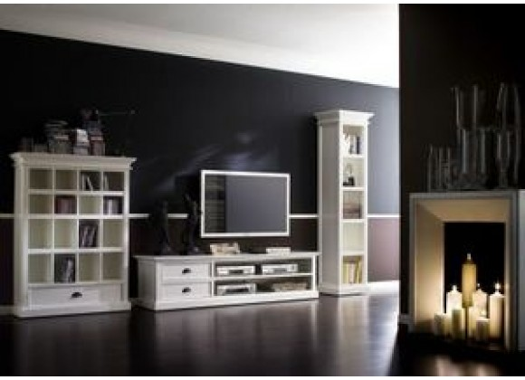 HALIFAX White Mahogany TV Console & Media Center - Lifestyle
