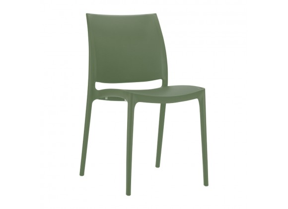 Maya Dining Chair Olive Green - Angled View