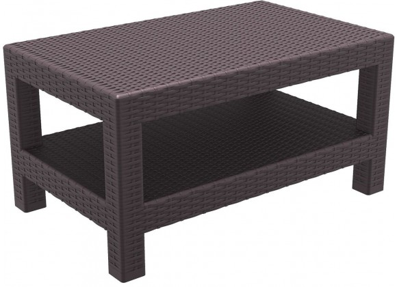 Monaco Rectangle Patio Coffee Table - Brown