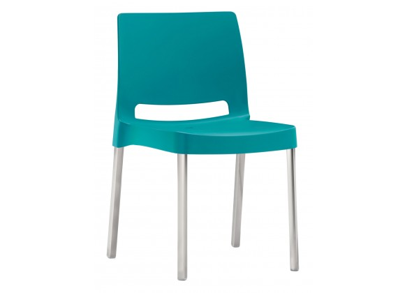 Molded Polypropylene With Aluminum Legs Side Chair - JOI-AQUA