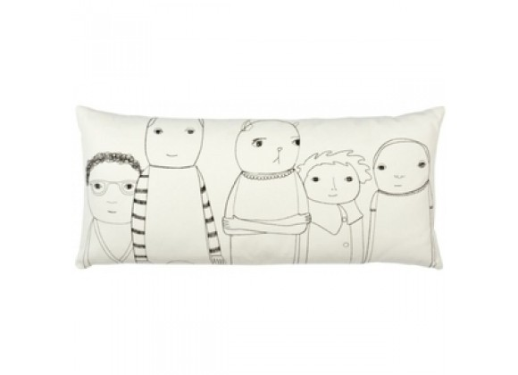 k studio Shelburne Pillow - Off White Organic Cotton with Black Stitch