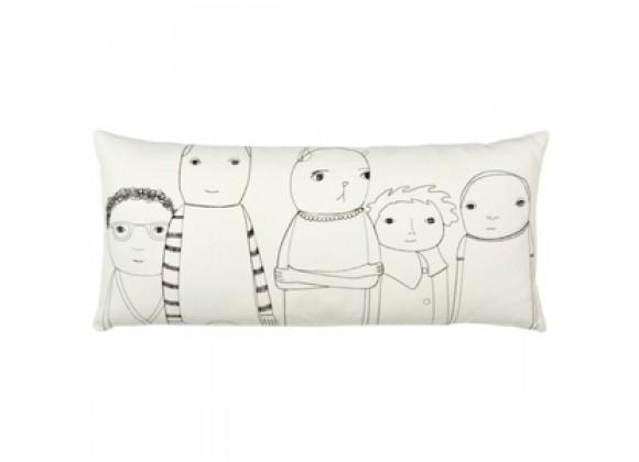 k studio Shelburne Pillow - Off White Organic Cotton with Black Stitch