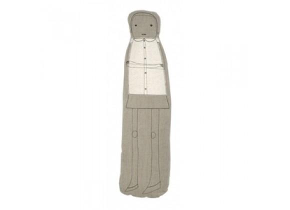 "k studio Female Figure Pillow - Natural with Black Stitch - 28"""