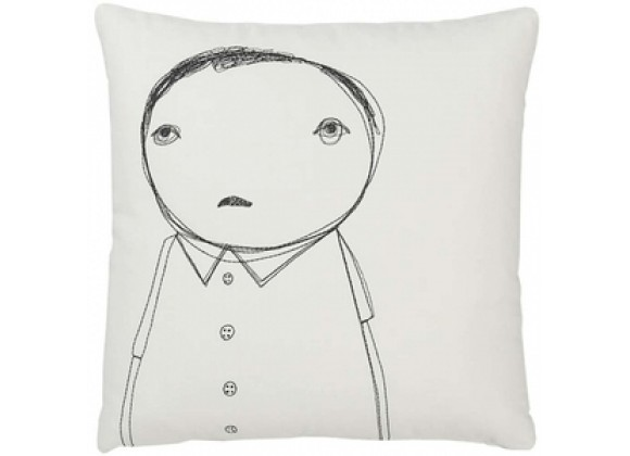 k studio Strange Portrait Series - Man with Buttons Pillow