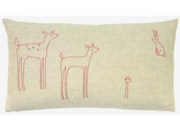 k studio Woodland Rectangular Pillow - Natural with Red stitch