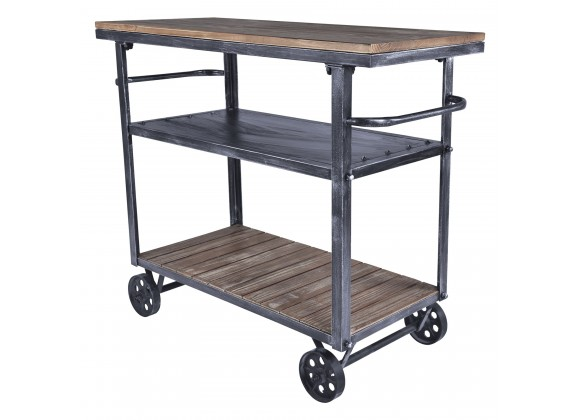 Reign Industrial Kitchen Cart in Industrial Grey and Pine Wood - Angled