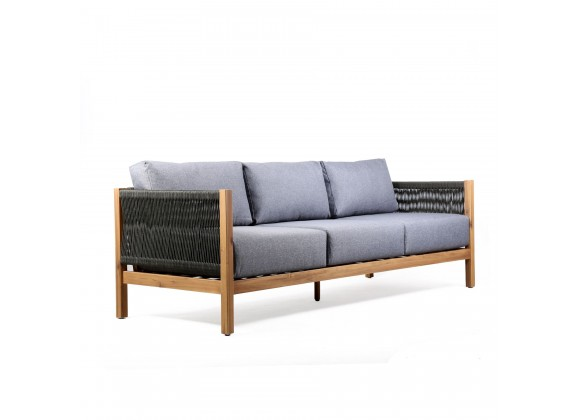 Sienna Outdoor Patio Sofa in Acacia Wood with Teak Finish and Gray Fabric - Angled