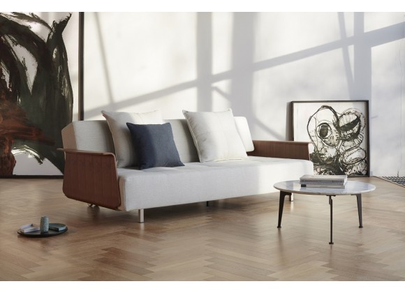 Long Horn Deluxe Sofa With Arms In Stainless Steel Legs And White Wheels - Lifestyle