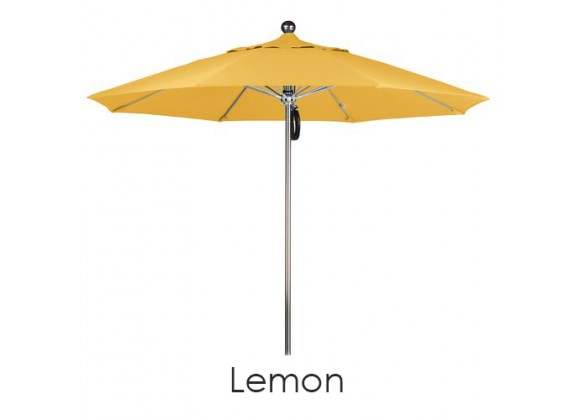California Umbrella 9' SSteel SinglePole FGlass Ribs M Umbrella SV Anodized - Olefin