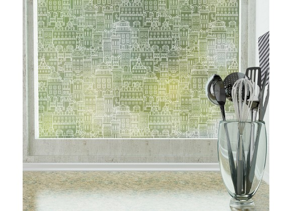 Odhams Press Little City Frosted Non-Adhesive Decorative Window Film - Privacy Cling Film