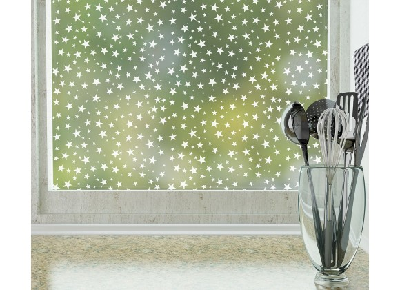 Odhams Press Star Struck Frosted Non-Adhesive Decorative Window Film - Privacy Cling Film