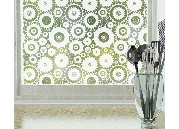 Odhams Press Sprockets Frosted Non-Adhesive Decorative Window Film - Privacy Cling Film
