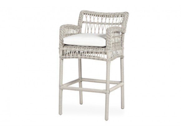 Mackinac Bar Stool in Putty Wicker - Angled