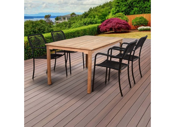 Amazonia Oosterdam 5 Piece Teak Rectangular Patio Dining Set