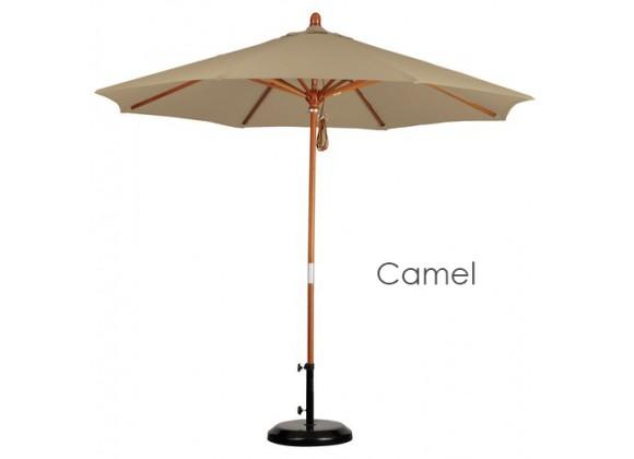 California Umbrella 9' Wood Market Umbrella Pulley Open Marenti Wood - Sunbrella