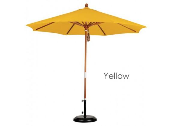 California Umbrella 9' Wood Market Umbrella Pulley Open Marenti Wood - Pacifica