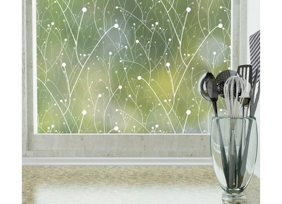 Odhams Press Willow Frosted Non-Adhesive Decorative Window Film - Privacy Cling Film
