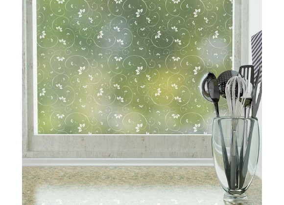 Odhams Press Jasmine Frosted Non-Adhesive Decorative Window Film - Privacy Cling Film