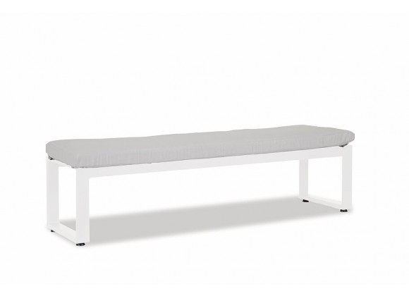 Newport Dining Bench With Cushion in Cast Silver