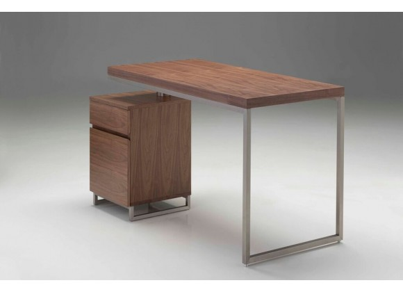 """Span 47"""" Desk Natural Walnut with Brushed Stainless Steel"""