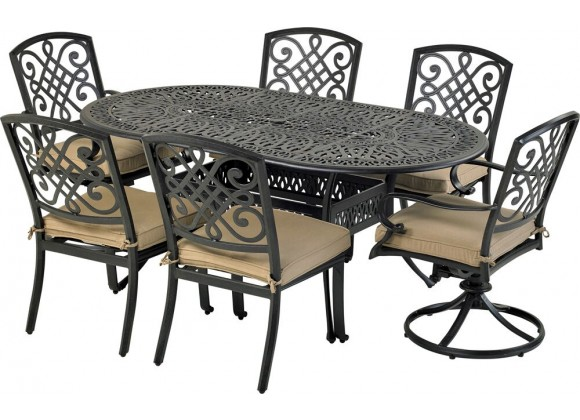 Bridgetown 7-Piece Dining Set - With Armless Dining and Swivel Chair
