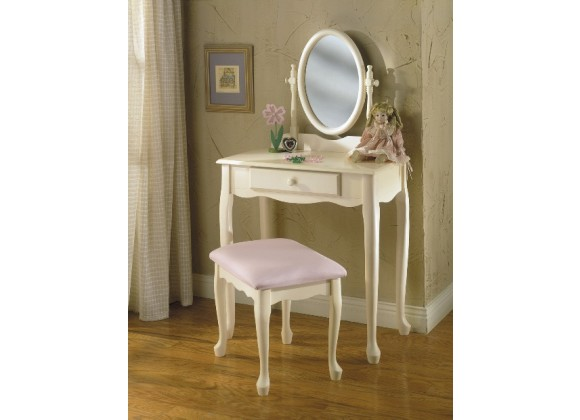 Powell Off-White Vanity with Mirror & Bench Set