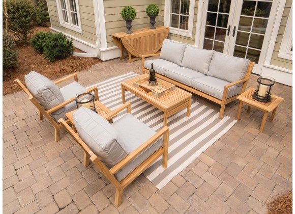 Royal Teak Coastal Set with 3-Seat Sofa and Two Club Chairs and Miami Coffee Table