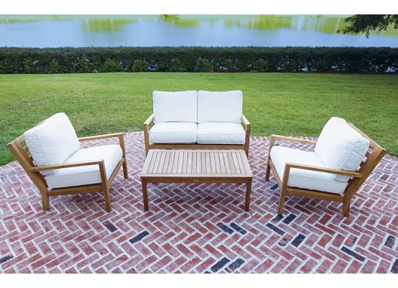 Royal Teak Coastal Wooden Set with Two Club Chairs, Miami Coffee Table and 2-Seater Loveseat