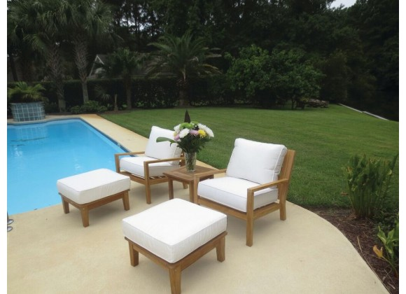 Royal Teak Coastal Wooden Set with Two Club Chairs, Miami Side Table and Two Ottomans