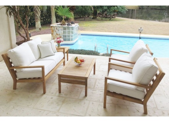 Royal Teak Coastal Wooden Set with 2-Seat Loveseat and Two Club Chairs, Miami Side Table and Miami Coffee Table
