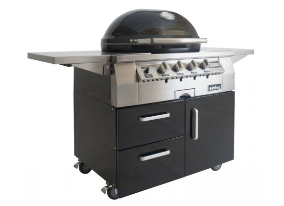 Primo Ceramic Oval G420C Freestanding Gas Grill  - Front Shelves Up Front
