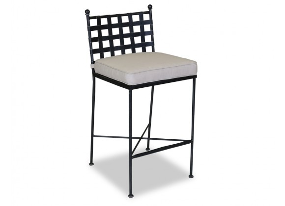 Sunset West Provence Aluminum Barstool With Cushions In Canvas Flax With Self Welt