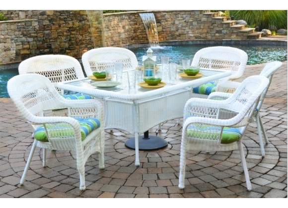 Tortuga Outdoor Portside 7 Piece Dining Set (Coastal White) -Lifestye