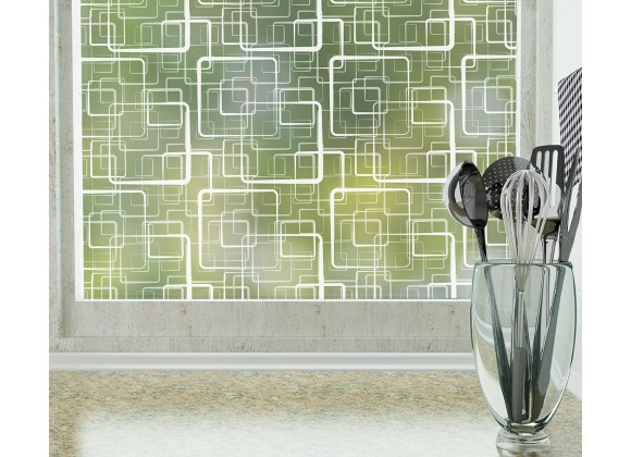 Odhams Press Retro Squares Frosted Non-Adhesive Decorative Window Film - Privacy Cling Film