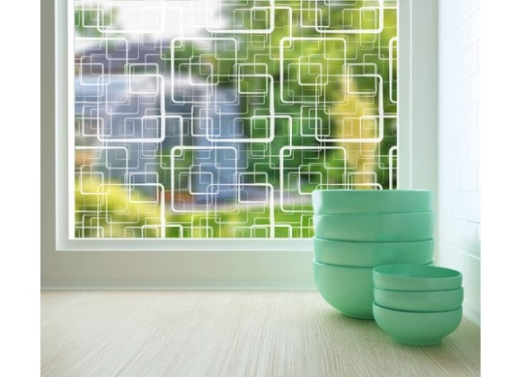 Odhams Press Retro Squares Sheer Adhesive Window Film