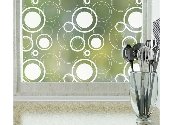 Odhams Press Retro Dots Frosted Non-Adhesive Decorative Window Film - Privacy Cling Film
