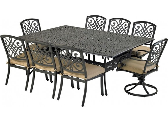 "Bridgetown 9-Piece Dining Set  with 84"" x 60"" Monarch Dining Table and 6 Armless Dining Chairs + 2 Swivel"