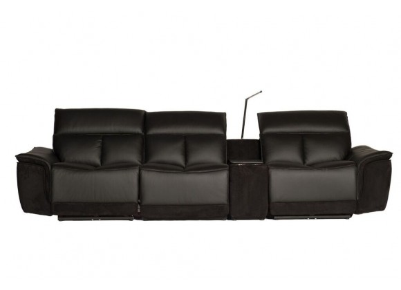 Modulate 4 Piece Recliner Midnight Black Leather with Black Fabric - Front