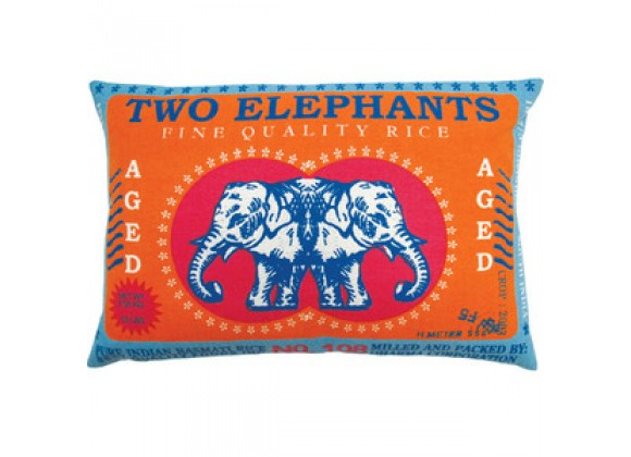 "Koko Company Rice 13"" x 20"" Pillow with Two Elephants Print"