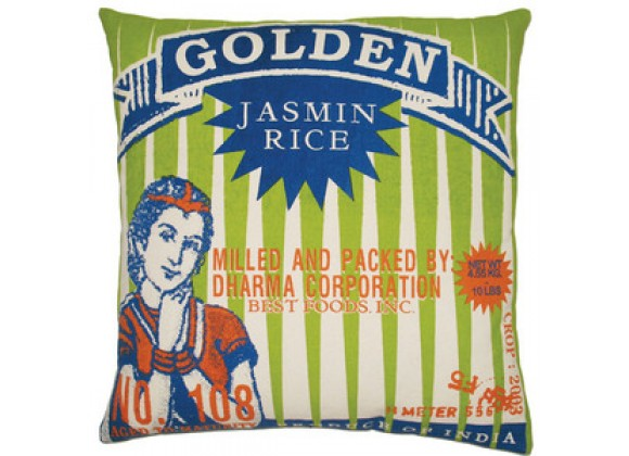 "Koko Company Rice 20"" x 20"" Pillow with Golden Print"