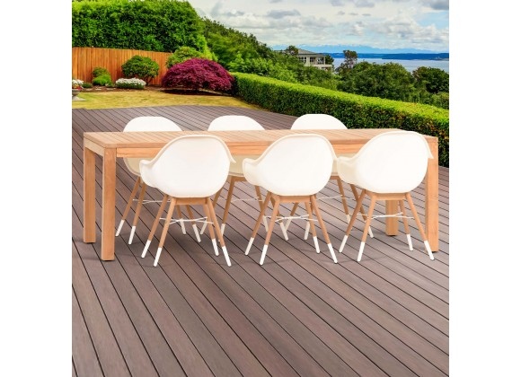 Amazonia Charlotte Deluxe 7 Piece Teak Rectangular Patio Dining Set
